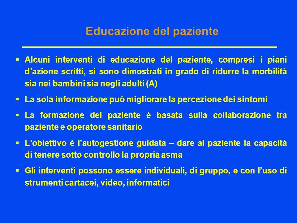 Educazione del paziente Alcuni interventi di educazione del paziente, compresi i piani dazione scritti, si sono dimostrati in grado di ridurre la morb