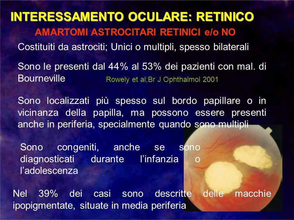 INTERESSAMENTO OCULARE: RETINICO AMARTOMI ASTROCITARI RETINICI e/o NO Costituiti da astrociti; Unici o multipli, spesso bilaterali Sono le presenti da