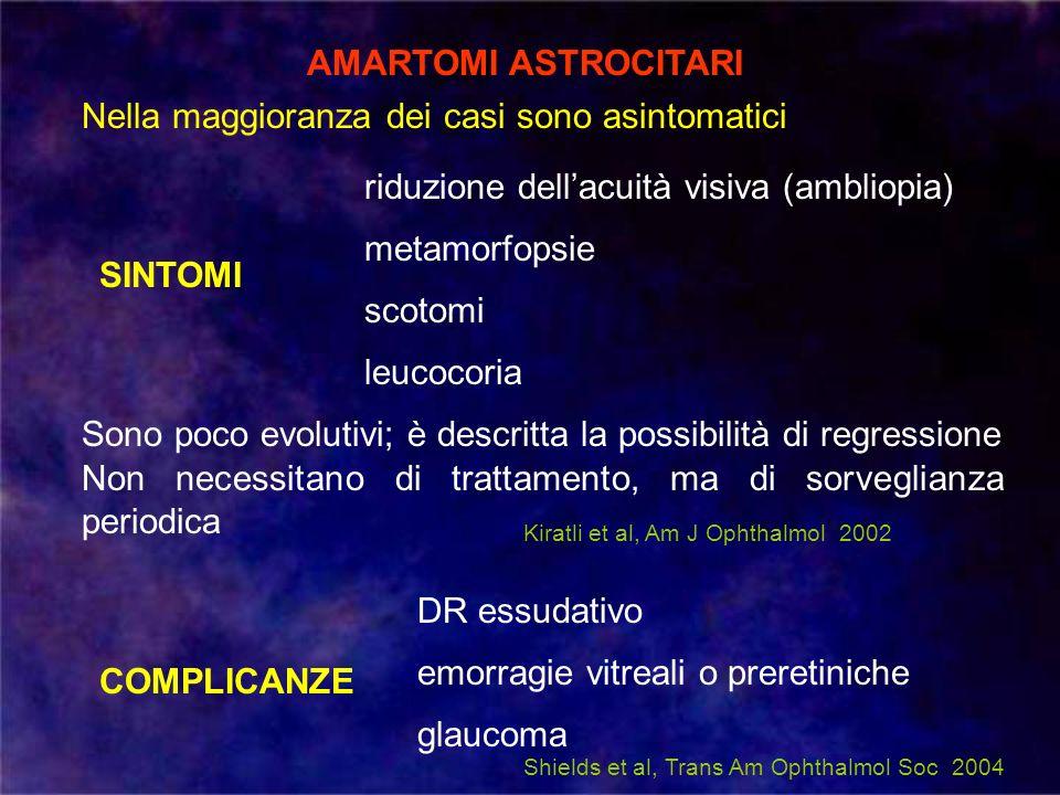 AMARTOMI ASTROCITARI Nella maggioranza dei casi sono asintomatici riduzione dellacuità visiva (ambliopia) metamorfopsie scotomi SINTOMI leucocoria COM