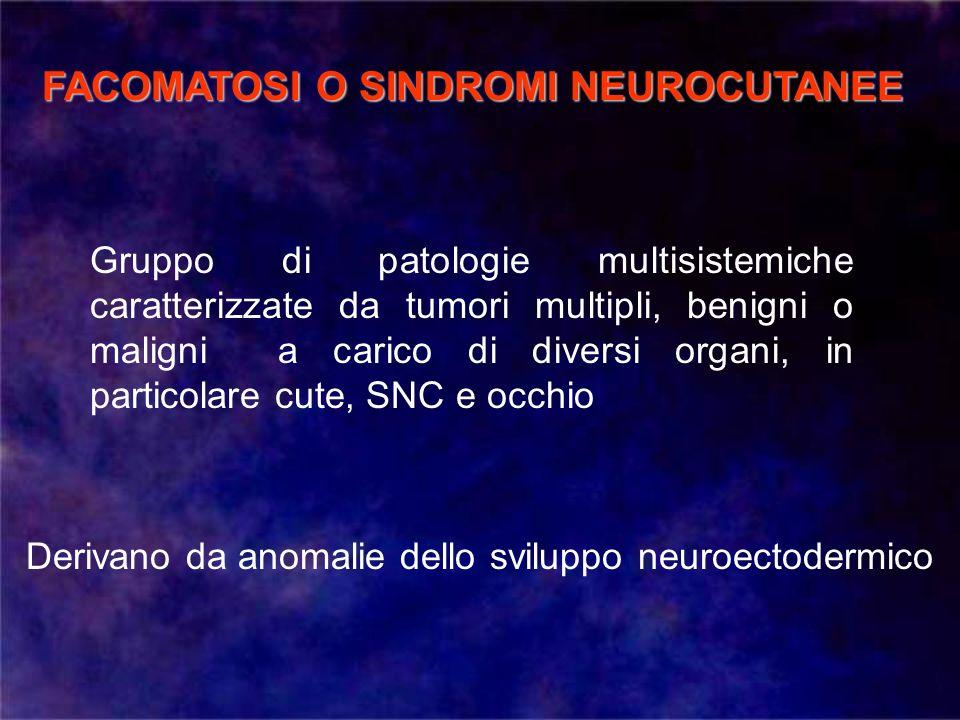 SCLEROSI TUBEROSA NEUROFIBROMATOSI I (malattia di Von Recklinghausen) NEUROFIBROMATOSI II SINDROME DI VON HIPPEL LINDAU SINDROME DI STURGE WEBER SINDROME DI BONNET-DECHAUME BLANC / WYBUR-MASON ATASSIA TELEANGECTASIA (malattia di Louis-Bar)