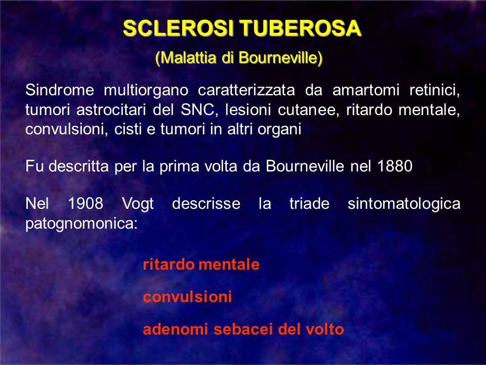 Incidenza 1 caso per 10.000 abitanti SCLEROSI TUBEROSA Malattia a trasmissione autosomica dominante Gene TSC1 (9q34) Gene TSC2 (16p13) La prognosi visiva è solitamente favorevole Cause di decesso: patologia polmonare e renale