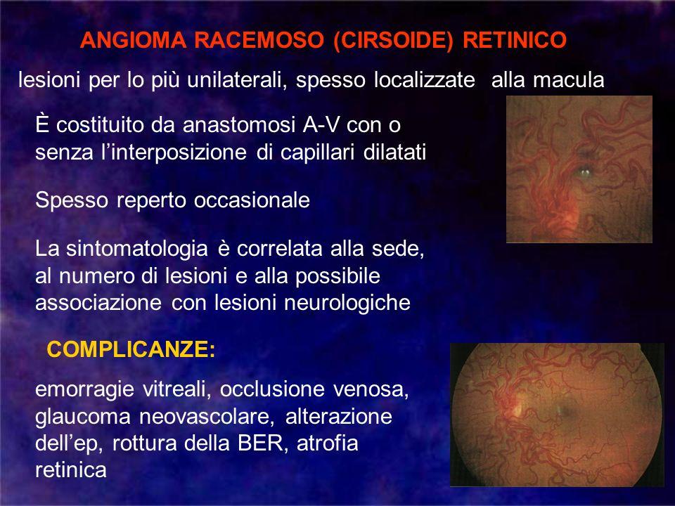 ANGIOMA RACEMOSO (CIRSOIDE) RETINICO lesioni per lo più unilaterali, spesso localizzate alla macula emorragie vitreali, occlusione venosa, glaucoma ne