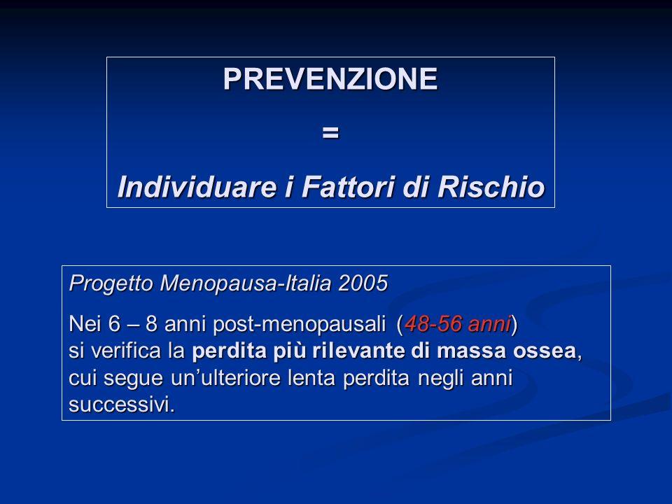 Progetto Menopausa-Italia 2005 Nei 6 – 8 anni post-menopausali (48-56 anni) si verifica la perdita più rilevante di massa ossea, cui segue unulteriore