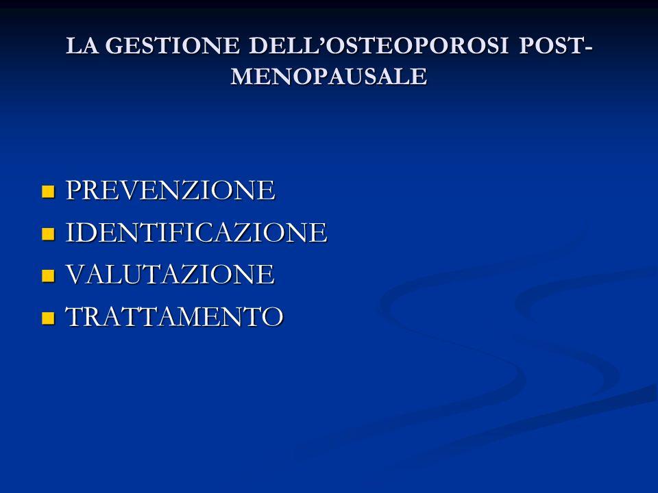 LA GESTIONE DELLOSTEOPOROSI POST- MENOPAUSALE PREVENZIONE PREVENZIONE IDENTIFICAZIONE IDENTIFICAZIONE VALUTAZIONE VALUTAZIONE TRATTAMENTO TRATTAMENTO