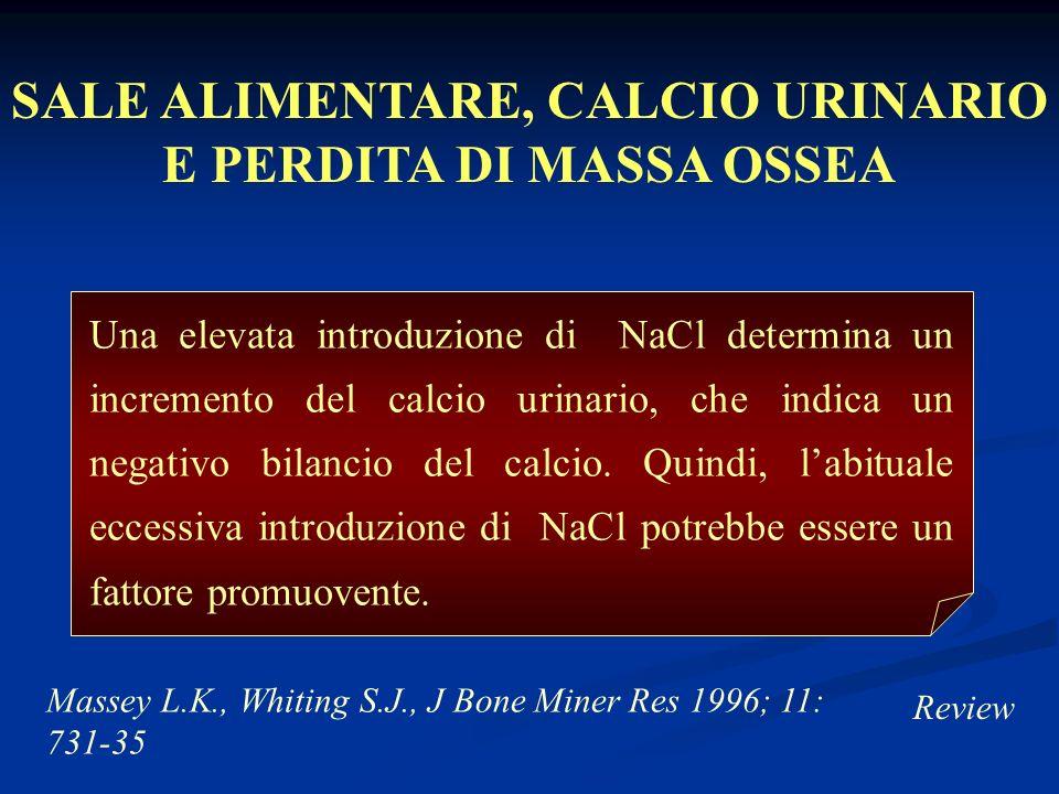 Massey L.K., Whiting S.J., J Bone Miner Res 1996; 11: 731-35 Review Una elevata introduzione di NaCl determina un incremento del calcio urinario, che