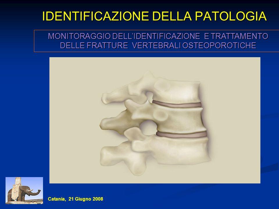 IDENTIFICAZIONE DELLA PATOLOGIA MONITORAGGIO DELLIDENTIFICAZIONE E TRATTAMENTO DELLE FRATTURE VERTEBRALI OSTEOPOROTICHE Catania, 21 Giugno 2008