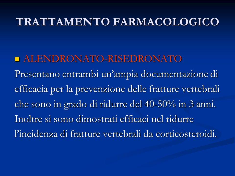 TRATTAMENTO FARMACOLOGICO ALENDRONATO-RISEDRONATO ALENDRONATO-RISEDRONATO Presentano entrambi unampia documentazione di efficacia per la prevenzione d