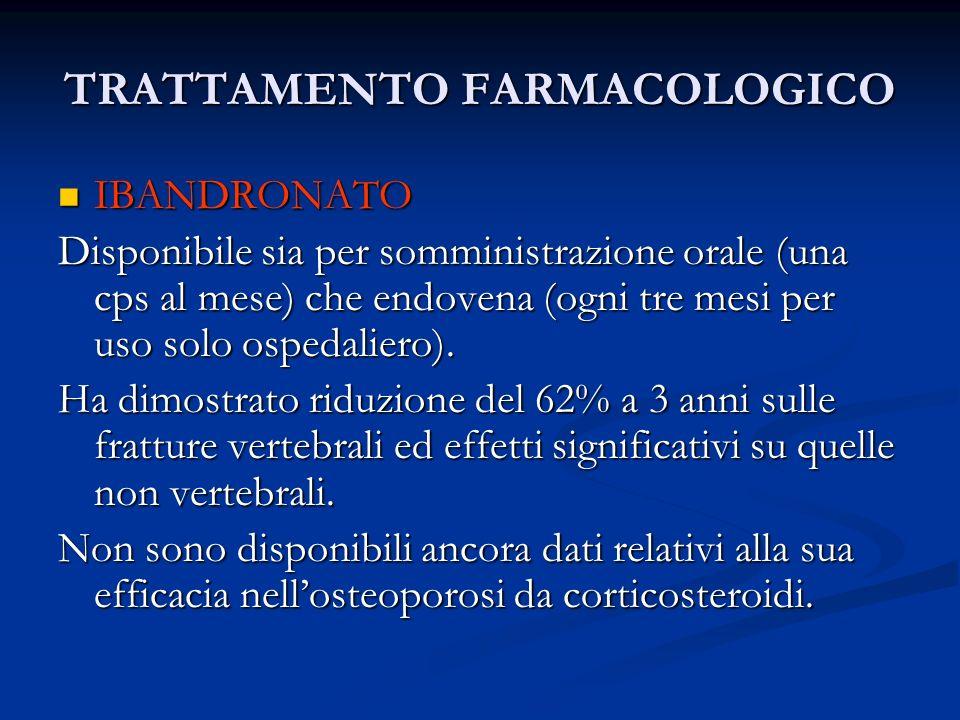 TRATTAMENTO FARMACOLOGICO IBANDRONATO IBANDRONATO Disponibile sia per somministrazione orale (una cps al mese) che endovena (ogni tre mesi per uso sol
