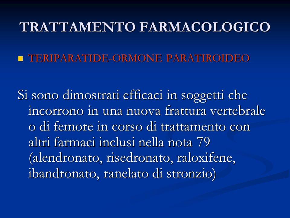 TRATTAMENTO FARMACOLOGICO TERIPARATIDE-ORMONE PARATIROIDEO TERIPARATIDE-ORMONE PARATIROIDEO Si sono dimostrati efficaci in soggetti che incorrono in u