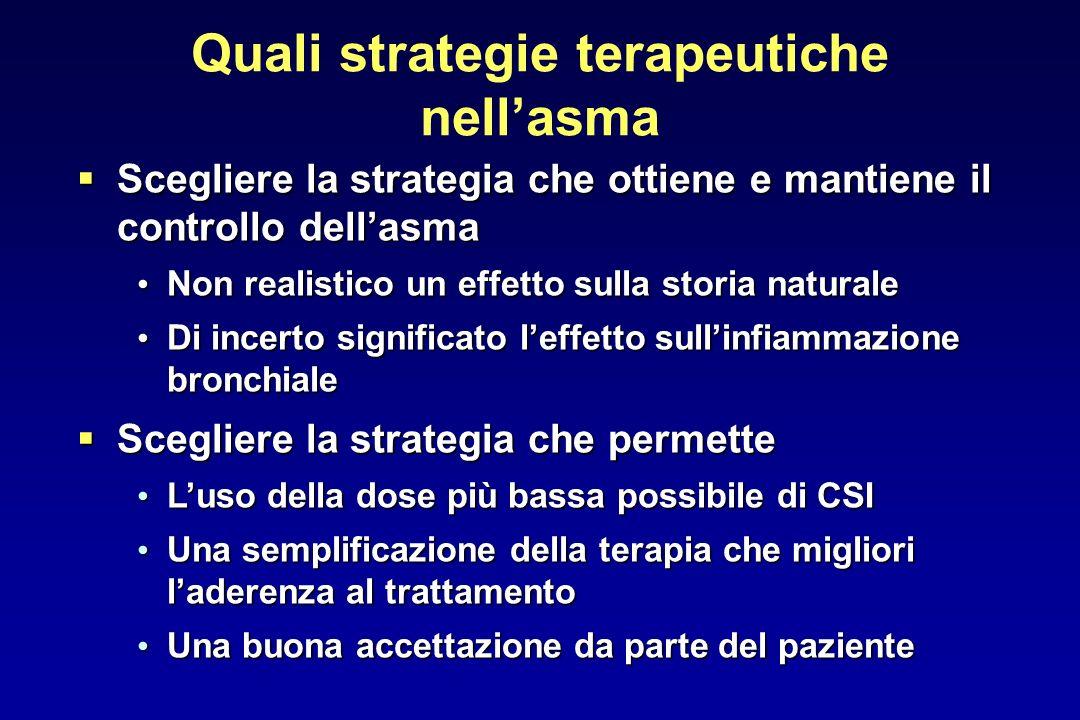 Quali strategie terapeutiche nellasma Scegliere la strategia che ottiene e mantiene il controllo dellasma Scegliere la strategia che ottiene e mantien