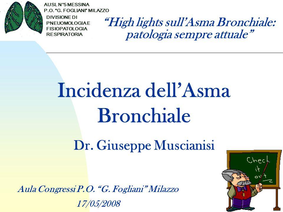 Definizione dellAsma Malattia infiammatoria cronica delle vie aeree Infiltrazione della mucosa bronchiale da parte di mastociti, eosinofili, linfociti T, basofili Malattia che causa episodi acuti ricorrenti di tosse, respiro sibilante, dispnea Broncostruzione parzialmente o completamente reversibile Global Initiative for Asthma (GINA)