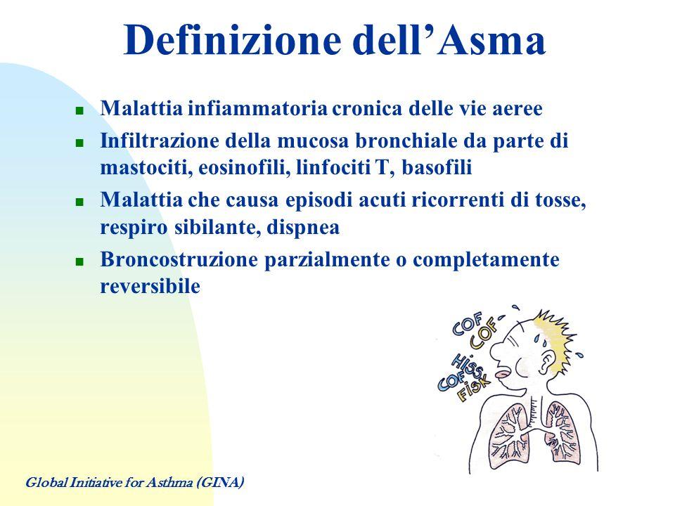 Asma: prevalenza ed incidenza PREVALENZA 2.5 – 5 % della popolazione adulta 10 – 15 % della popolazione pediatrica Rapporto M/F 2:1 nellinfanzia Incremento del 20 – 30 % negli ultimi 10 anni INCIDENZA Globale: 3 – 4/1000/anno Bambini: età < 5 anni Maschi: 8 – 14/1000/anno Femmine: 4 – 9/1000/anno Adulti: età > 25 anni 2/1000/anno Global Initiative for Asthma (GINA)