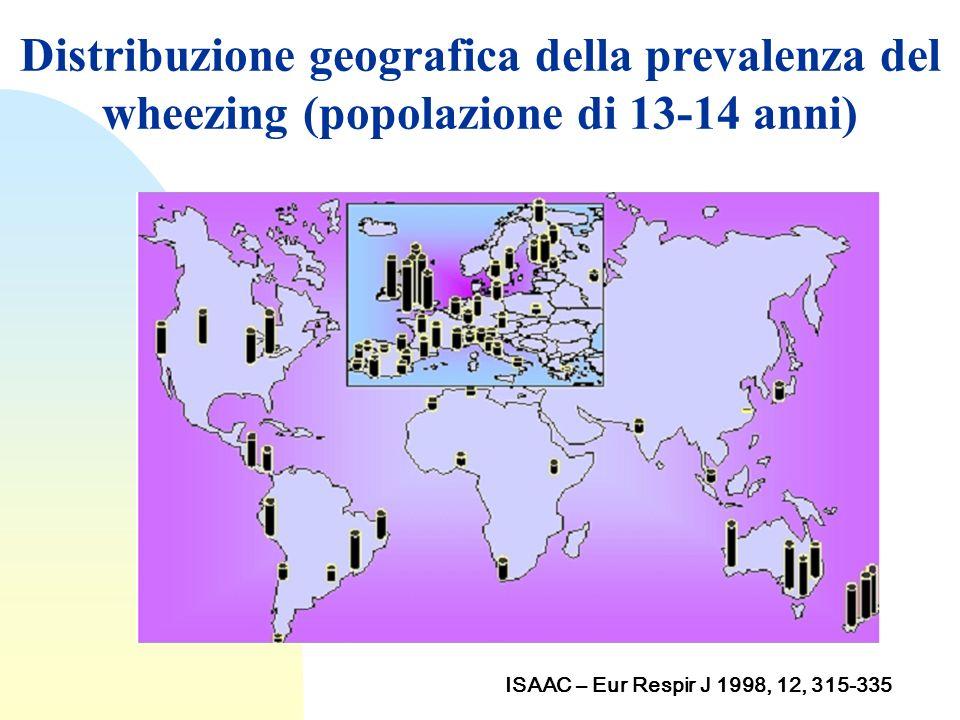 Distribuzione geografica della prevalenza del wheezing (popolazione di 13-14 anni) ISAAC – Eur Respir J 1998, 12, 315-335