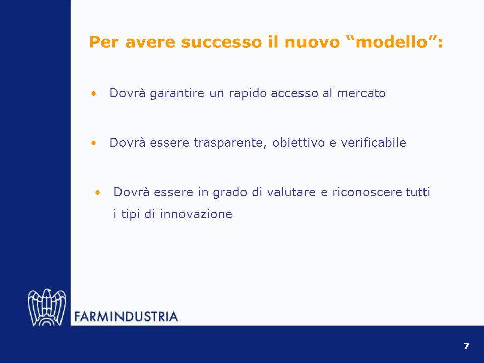 Dovrà garantire un rapido accesso al mercato 7 Dovrà essere trasparente, obiettivo e verificabile Per avere successo il nuovo modello: Dovrà essere in grado di valutare e riconoscere tutti i tipi di innovazione