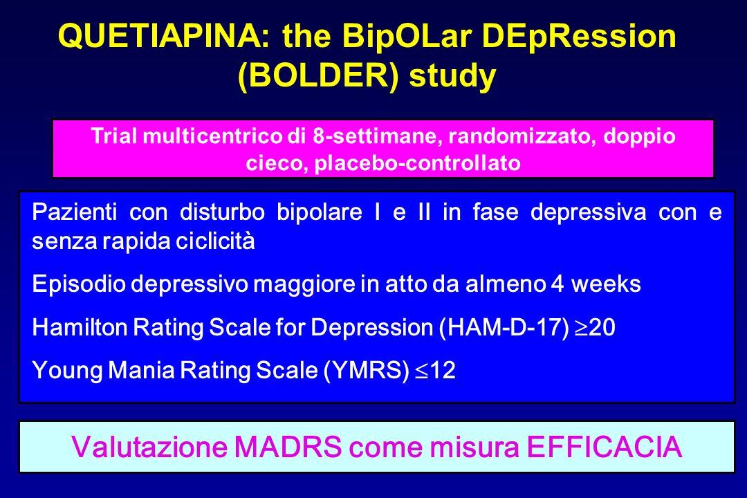 QUETIAPINA: the BipOLar DEpRession (BOLDER) study Trial multicentrico di 8-settimane, randomizzato, doppio cieco, placebo-controllato Pazienti con dis