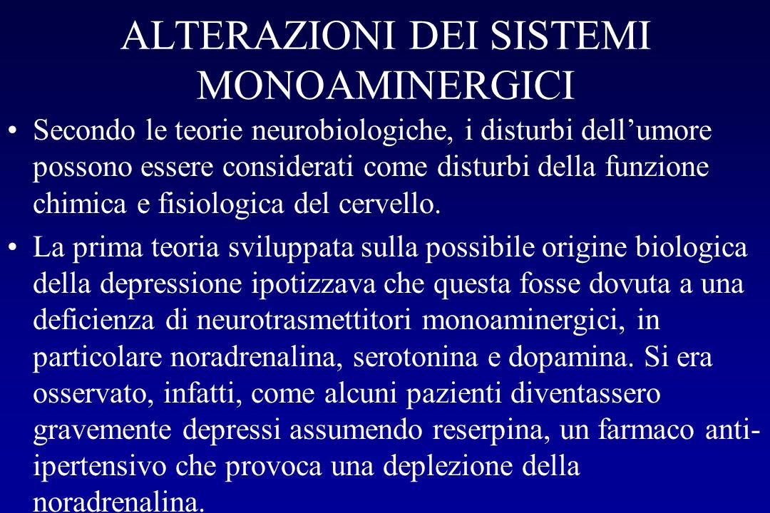 ALTERAZIONI DEI SISTEMI MONOAMINERGICI Secondo le teorie neurobiologiche, i disturbi dellumore possono essere considerati come disturbi della funzione