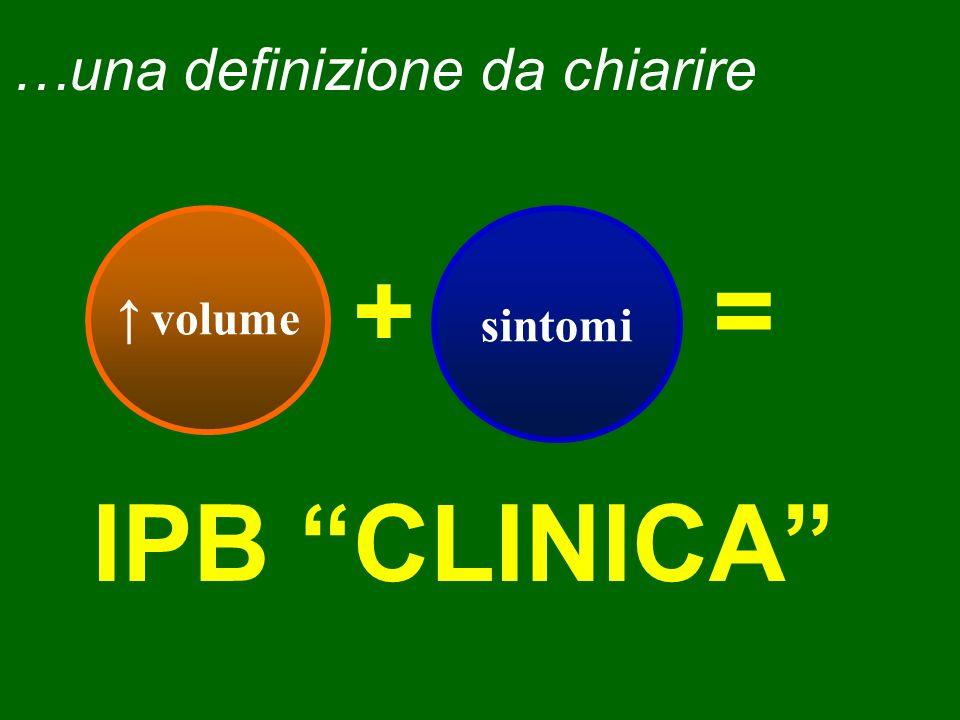 …una definizione da chiarire volume sintomi IPB CLINICA +=