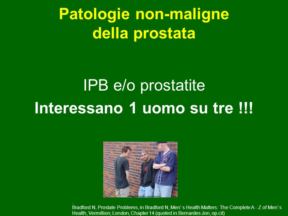 IPB e/o prostatite Interessano 1 uomo su tre !!! Patologie non-maligne della prostata. Bradford N, Prostate Problems, in Bradford N, Men s Health Matt