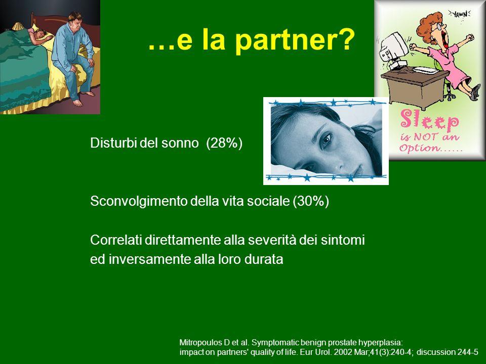 …e la partner? Disturbi del sonno (28%) Sconvolgimento della vita sociale (30%) Correlati direttamente alla severità dei sintomi ed inversamente alla