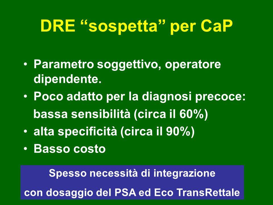 DRE sospetta per CaP Parametro soggettivo, operatore dipendente. Poco adatto per la diagnosi precoce: bassa sensibilità (circa il 60%) alta specificit