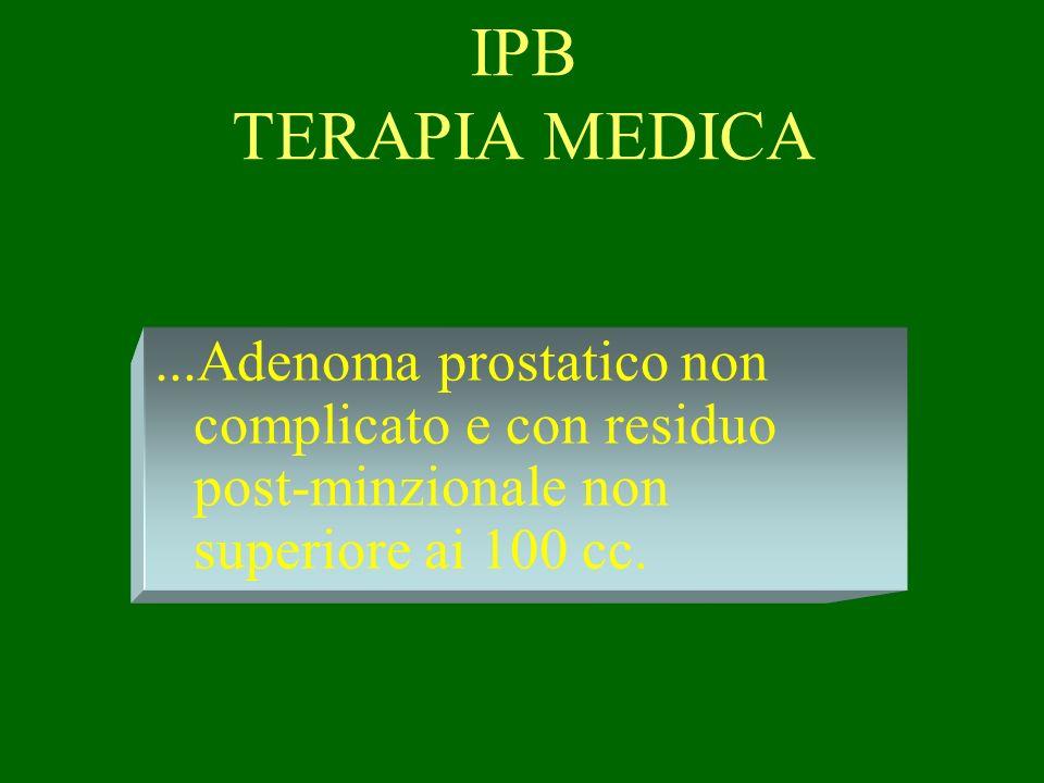 IPB TERAPIA MEDICA...Adenoma prostatico non complicato e con residuo post-minzionale non superiore ai 100 cc.