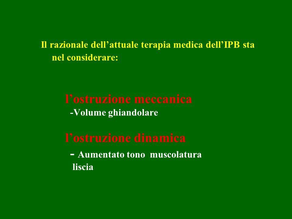 Il razionale dellattuale terapia medica dellIPB sta nel considerare: lostruzione meccanica -Volume ghiandolare lostruzione dinamica - Aumentato tono m