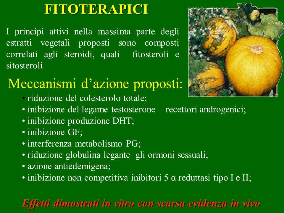 FITOTERAPICI I principi attivi nella massima parte degli estratti vegetali proposti sono composti correlati agli steroidi, quali fitosteroli e sitoste