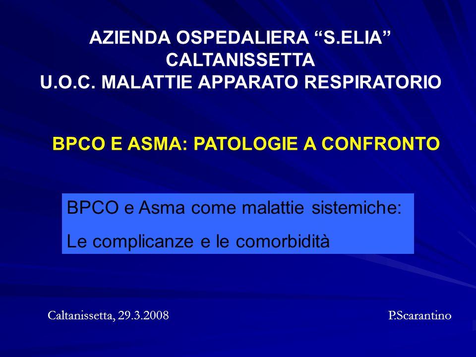 BPCO E ASMA: PATOLOGIE A CONFRONTO Caltanissetta, 29.3.2008 P.Scarantino AZIENDA OSPEDALIERA S.ELIA CALTANISSETTA U.O.C. MALATTIE APPARATO RESPIRATORI