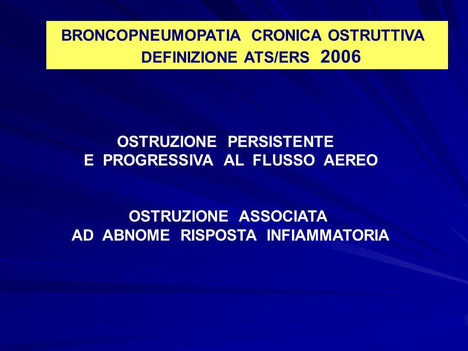 BRONCOPNEUMOPATIA CRONICA OSTRUTTIVA DEFINIZIONE ATS/ERS 2006 OSTRUZIONE PERSISTENTE E PROGRESSIVA AL FLUSSO AEREO OSTRUZIONE ASSOCIATA AD ABNOME RISP