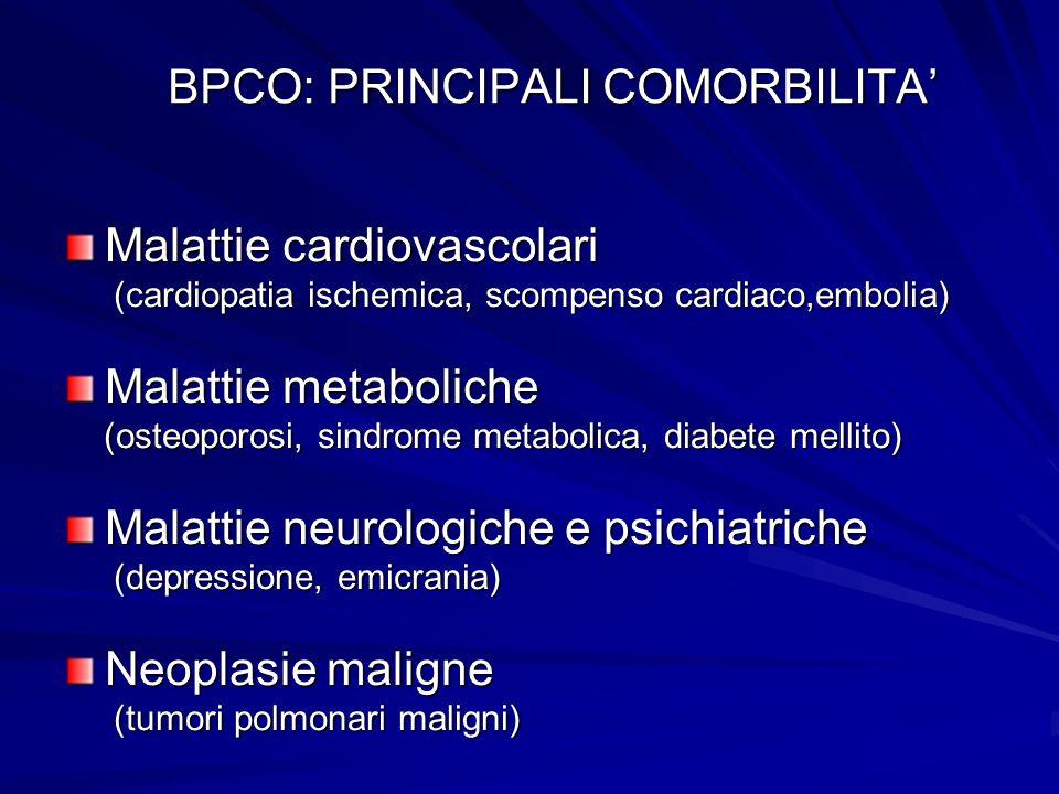 BPCO: PRINCIPALI COMORBILITA Malattie cardiovascolari (cardiopatia ischemica, scompenso cardiaco,embolia) (cardiopatia ischemica, scompenso cardiaco,e