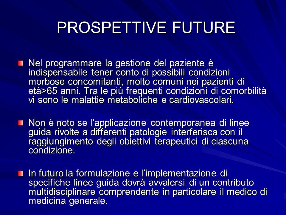 PROSPETTIVE FUTURE PROSPETTIVE FUTURE Nel programmare la gestione del paziente è indispensabile tener conto di possibili condizioni morbose concomitan