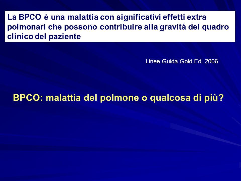 La BPCO è una malattia con significativi effetti extra polmonari che possono contribuire alla gravità del quadro clinico del paziente Linee Guida Gold