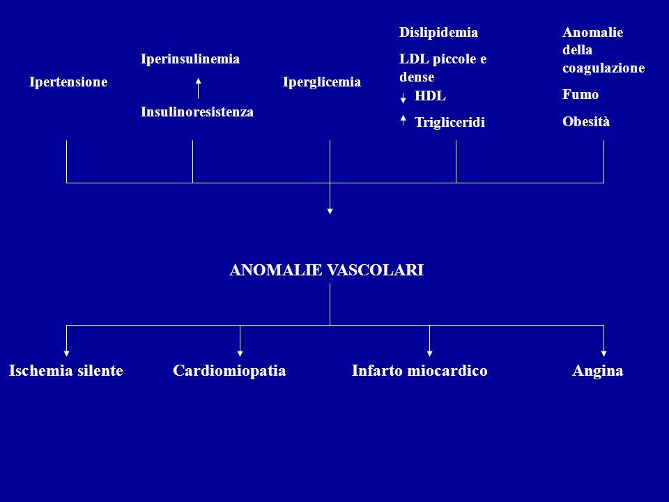 Ipertensione Iperinsulinemia Insulinoresistenza Iperglicemia Dislipidemia LDL piccole e dense HDL Trigliceridi Anomalie della coagulazione Fumo Obesit