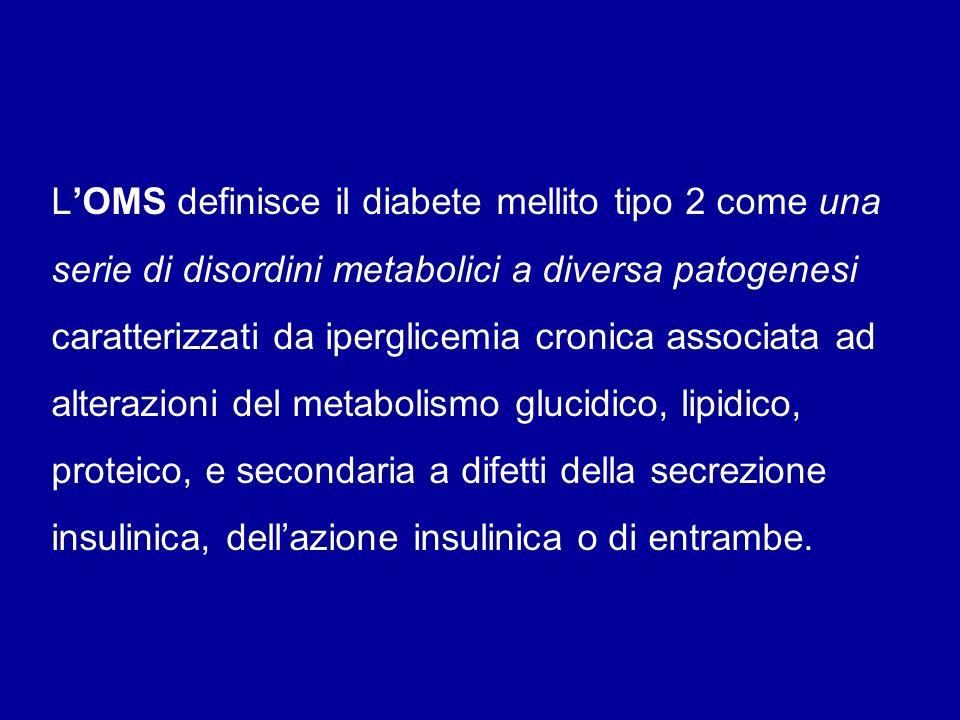 LOMS definisce il diabete mellito tipo 2 come una serie di disordini metabolici a diversa patogenesi caratterizzati da iperglicemia cronica associata
