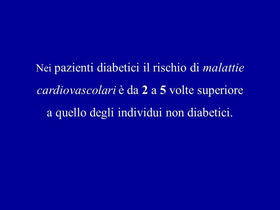 Nei pazienti diabetici il rischio di malattie cardiovascolari è da 2 a 5 volte superiore a quello degli individui non diabetici.