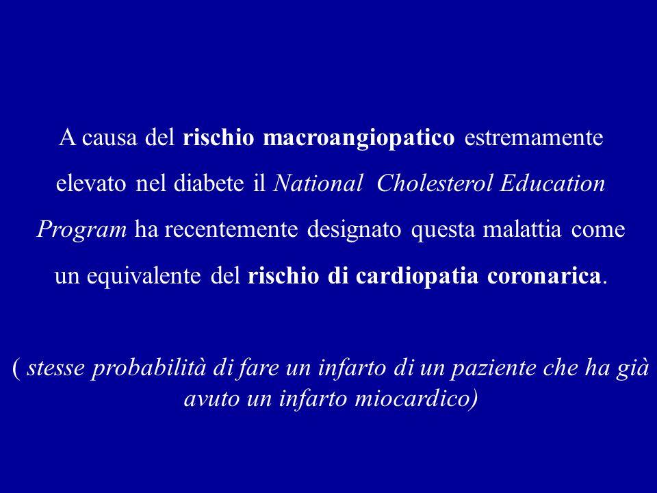 A causa del rischio macroangiopatico estremamente elevato nel diabete il National Cholesterol Education Program ha recentemente designato questa malat