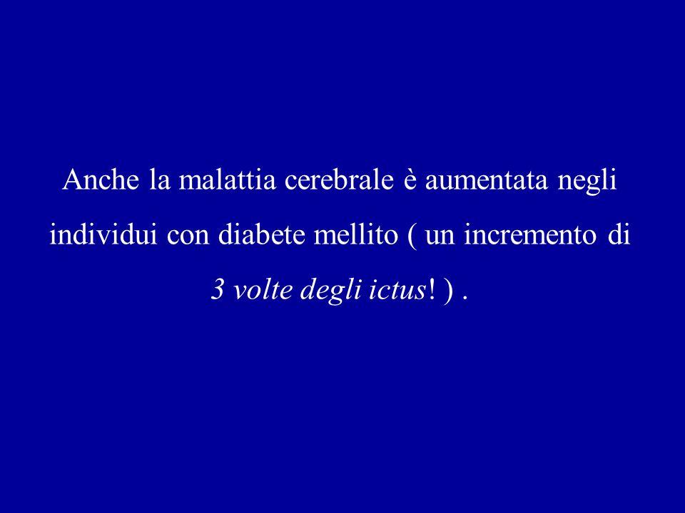 Anche la malattia cerebrale è aumentata negli individui con diabete mellito ( un incremento di 3 volte degli ictus! ).