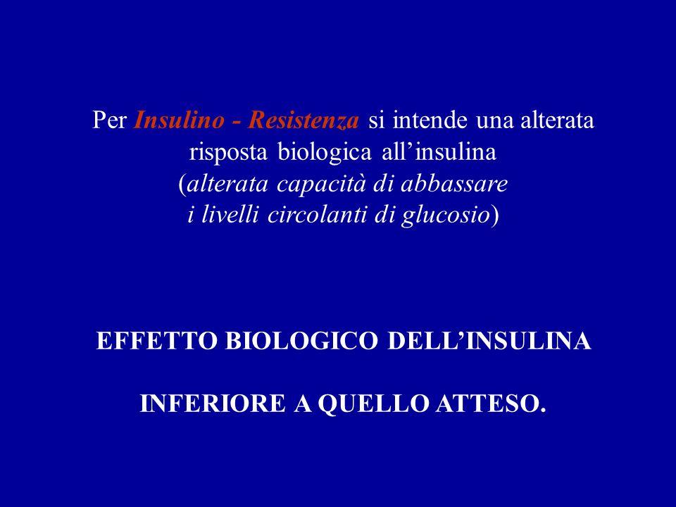 Per Insulino - Resistenza si intende una alterata risposta biologica allinsulina (alterata capacità di abbassare i livelli circolanti di glucosio) EFF