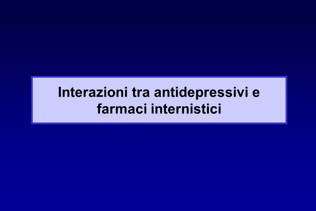 Interazioni tra antidepressivi e farmaci internistici