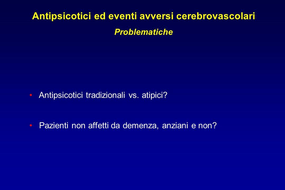 Antipsicotici ed eventi avversi cerebrovascolari Problematiche Antipsicotici tradizionali vs.