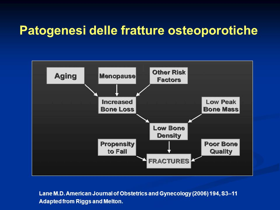 Patogenesi delle fratture osteoporotiche Lane M.D. American Journal of Obstetrics and Gynecology (2006) 194, S3–11 Adapted from Riggs and Melton.