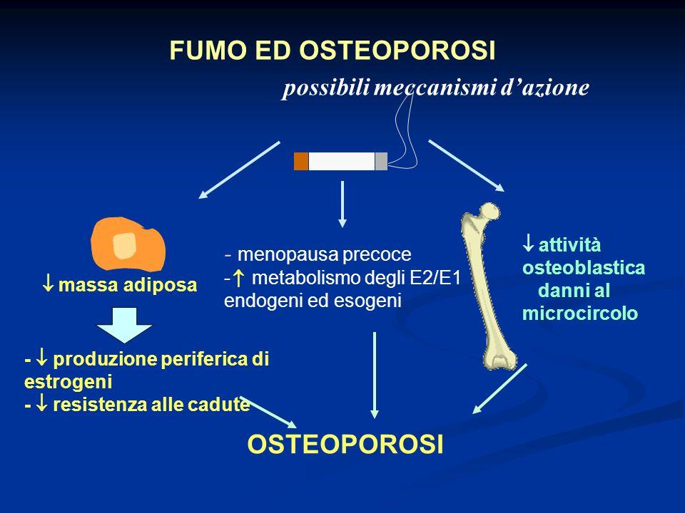 attività osteoblastica danni al microcircolo massa adiposa FUMO ED OSTEOPOROSI - menopausa precoce - metabolismo degli E2/E1 endogeni ed esogeni - pro