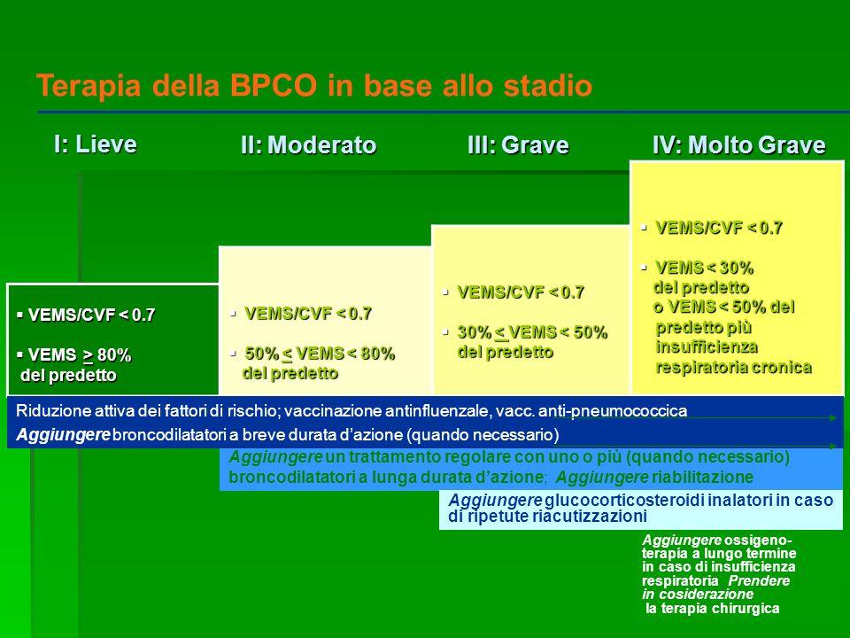 IV: Molto Grave IV: Molto Grave III: Grave III: Grave II: Moderato II: Moderato I: Lieve I: Lieve VEMS/CVF < 0.7 VEMS/CVF < 0.7 VEMS > 80% VEMS > 80%
