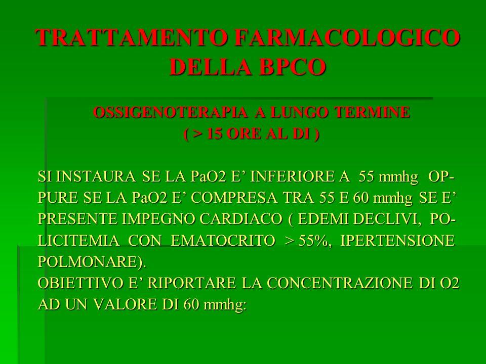 TRATTAMENTO FARMACOLOGICO DELLA BPCO OSSIGENOTERAPIA A LUNGO TERMINE ( > 15 ORE AL DI ) SI INSTAURA SE LA PaO2 E INFERIORE A 55 mmhg OP- PURE SE LA Pa