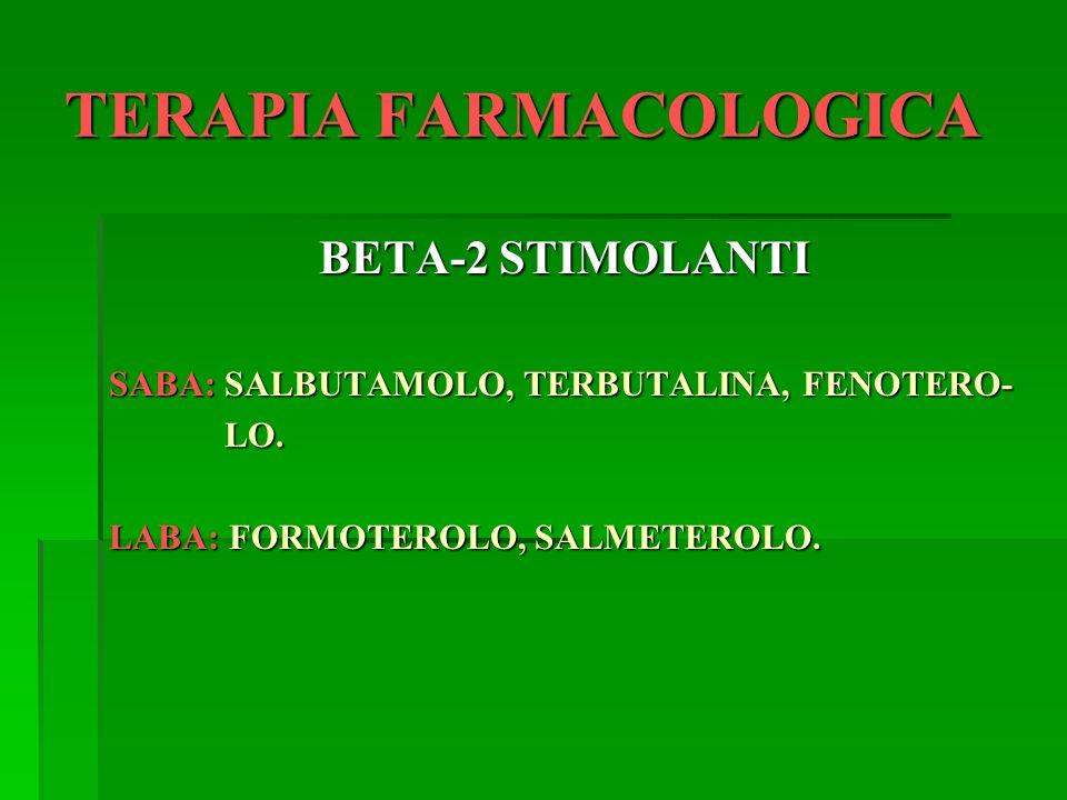 TERAPIA FARMACOLOGICA BETA-2 STIMOLANTI SABA: SALBUTAMOLO, TERBUTALINA, FENOTERO- LO. LO. LABA: FORMOTEROLO, SALMETEROLO.