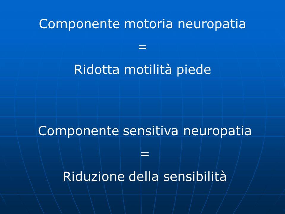 Componente motoria neuropatia = Ridotta motilità piede Componente sensitiva neuropatia = Riduzione della sensibilità