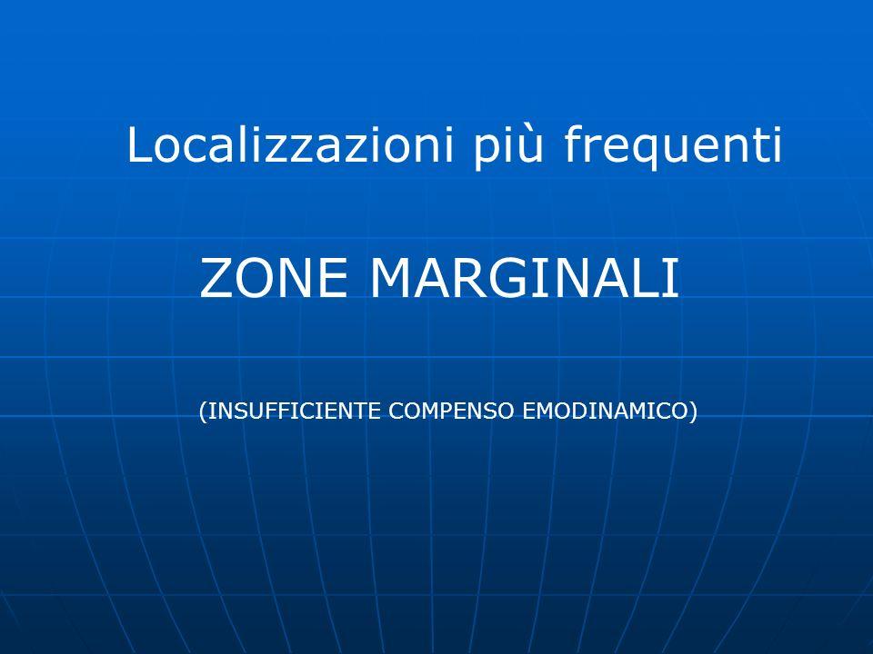 Localizzazioni più frequenti ZONE MARGINALI (INSUFFICIENTE COMPENSO EMODINAMICO)