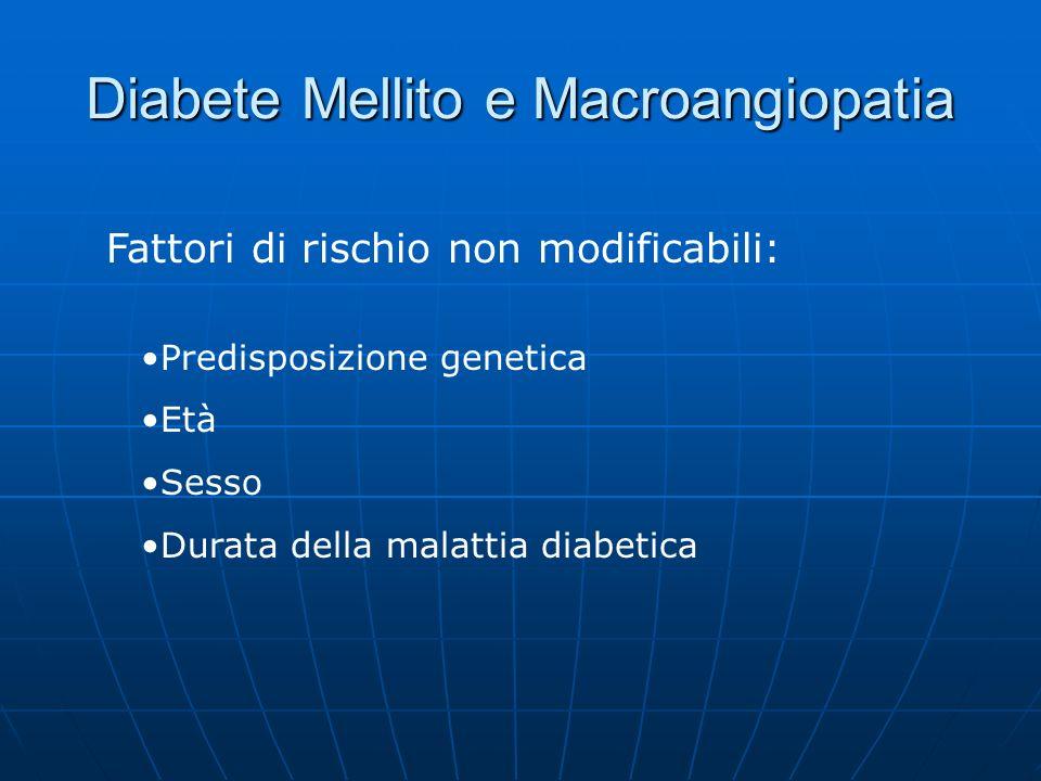 Diabete Mellito e Macroangiopatia Fattori di rischio non modificabili: Predisposizione genetica Età Sesso Durata della malattia diabetica