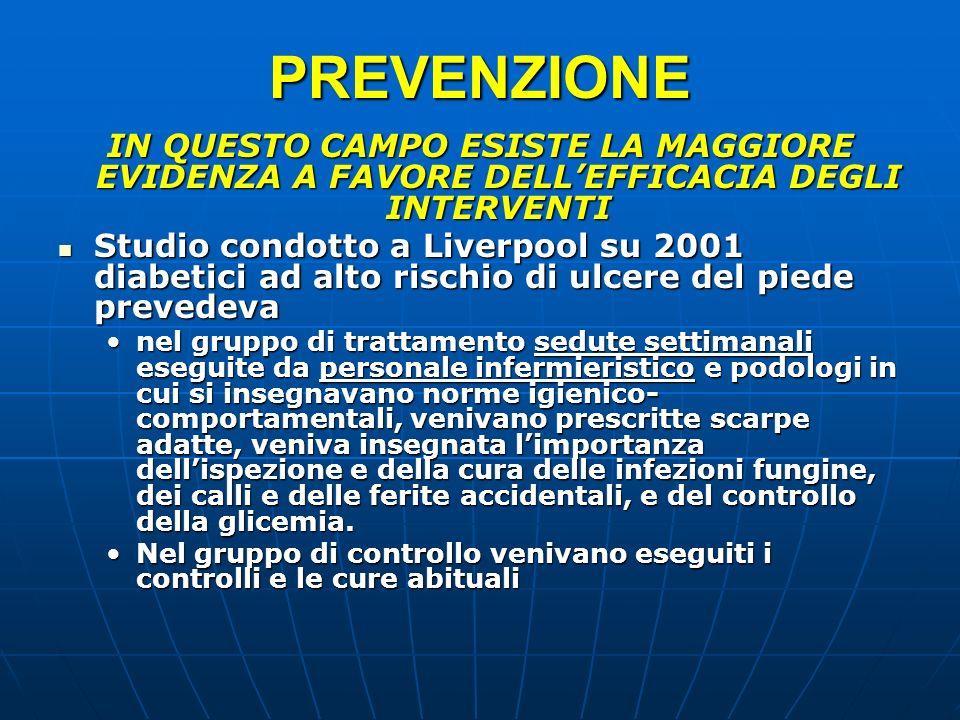 PREVENZIONE IN QUESTO CAMPO ESISTE LA MAGGIORE EVIDENZA A FAVORE DELLEFFICACIA DEGLI INTERVENTI Studio condotto a Liverpool su 2001 diabetici ad alto
