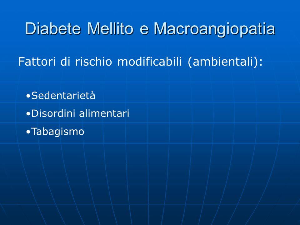 Diabete Mellito e Macroangiopatia Fattori di rischio modificabili (ambientali): Sedentarietà Disordini alimentari Tabagismo